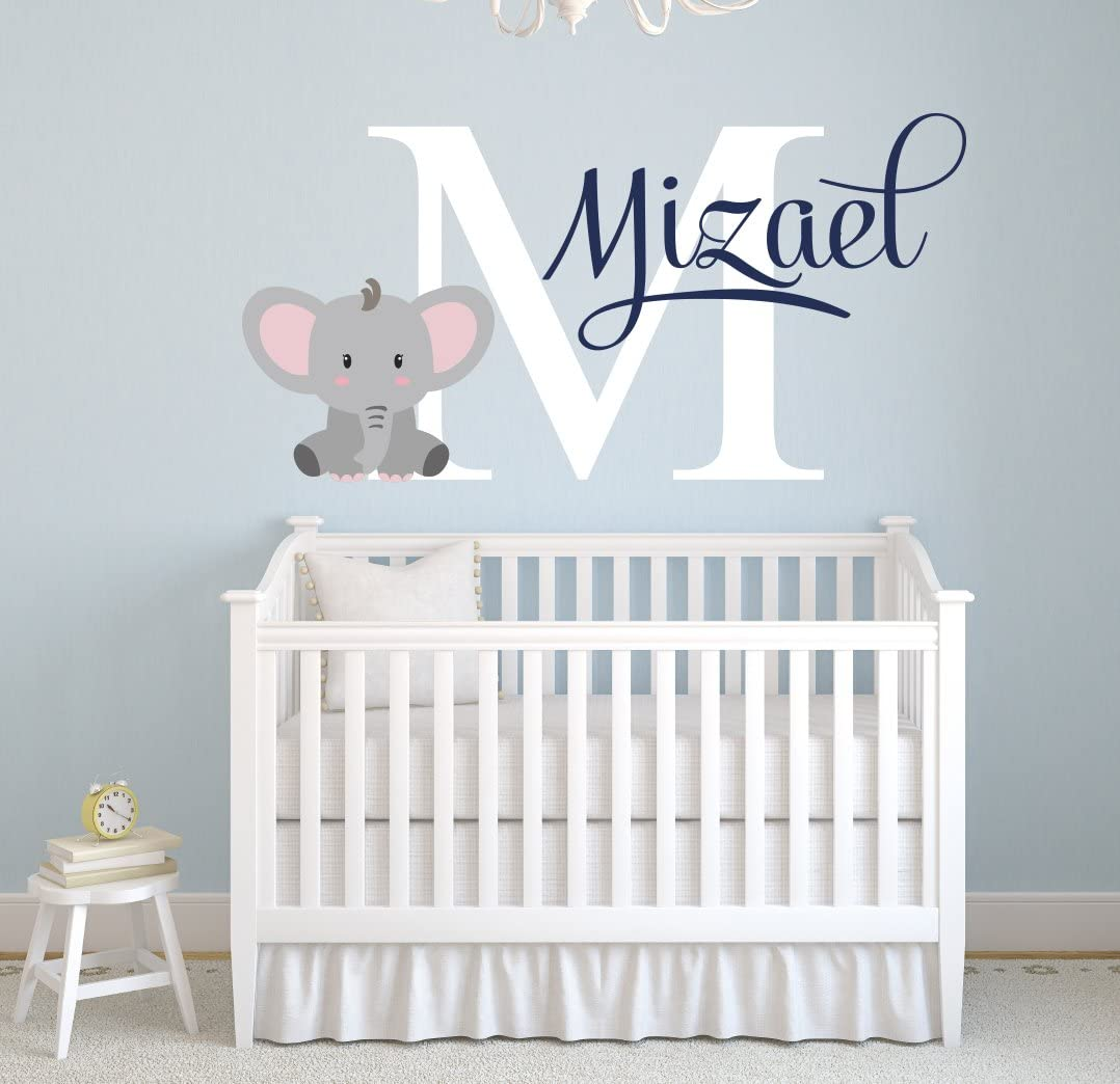 "Pinkie Penguin Name Elephant Wall Decal Custom Baby Boy Nursery Decor Personalized Gift Vinyl Art (26"" W x 18"" H)"