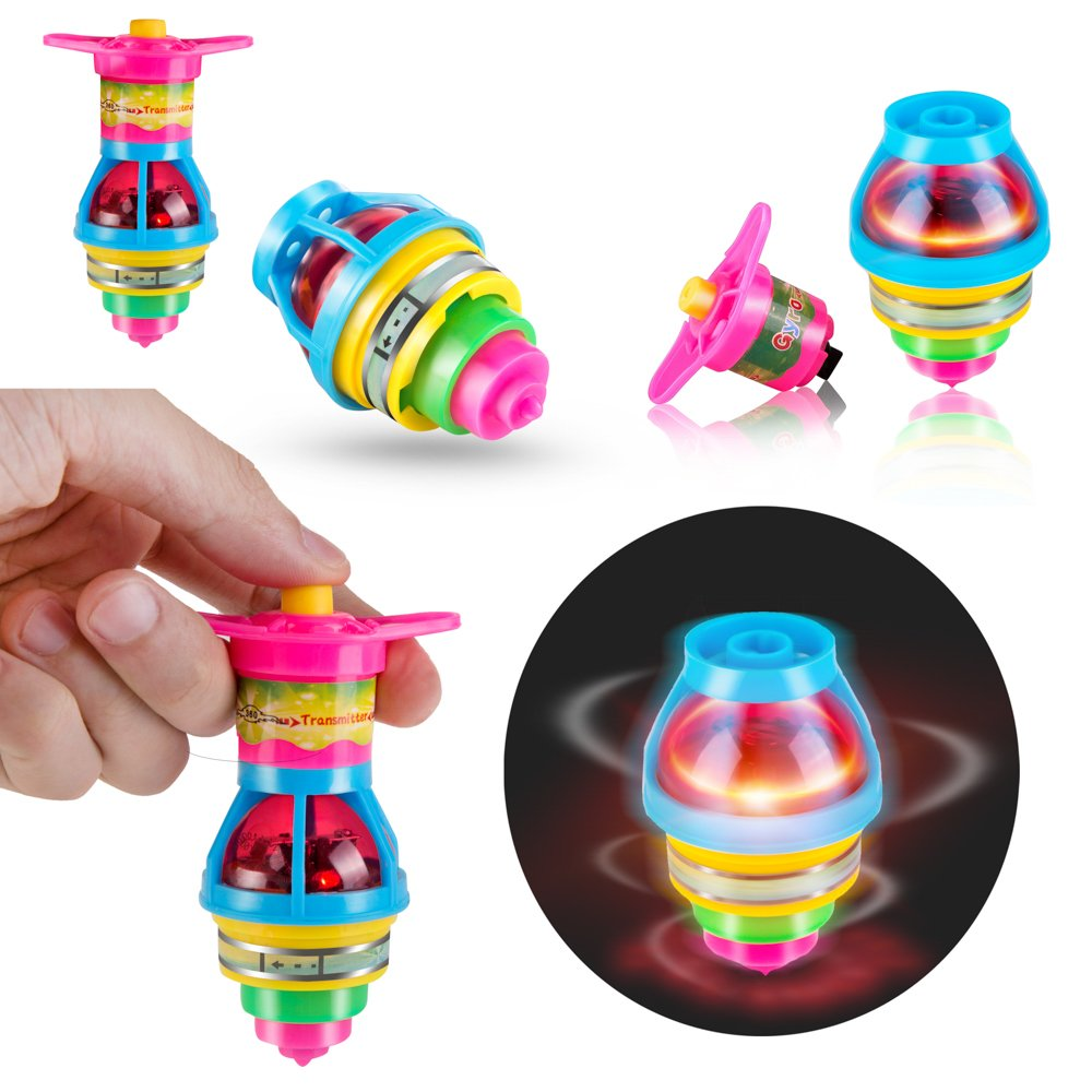 PROLOSO 15-Pack LED Light Up Flashing UFO Spinning Tops with Gyroscope Novelty Bulk Toys Party Favors by PROLOSO