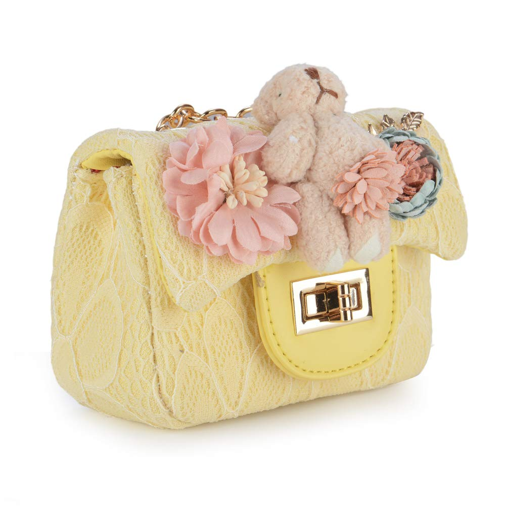 943e360dfe79 Cutie Keer Sparkling Glittering Teddy Lace Quilted Chain Crossbody Bag Purse  for Little Girls