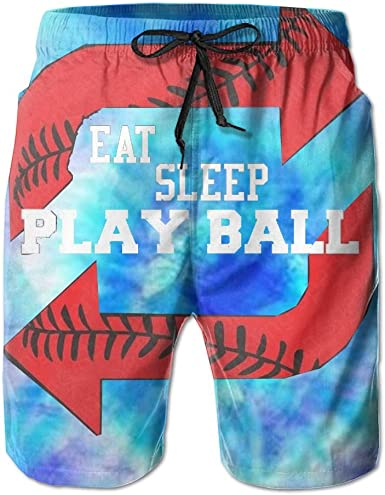 I Love Sleeping Mens 3D Printed Board Shorts Cool Beach Swim Shorts Swim Trunk
