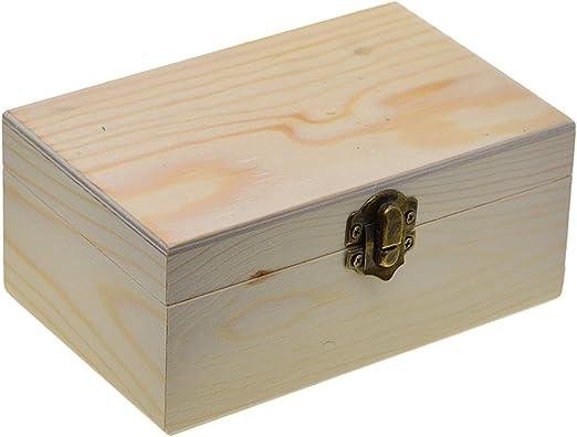Caja de Madera de Pino Sin Terminar Almacenamiento de Herramientas Pequeñas de Bricolaje: Amazon.es: Hogar