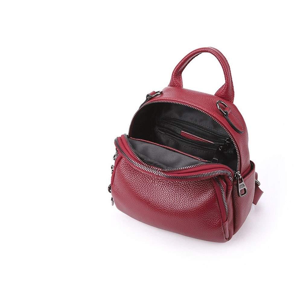 ZYSTMCQZ Äkta vattentätt läder kvinnor ryggsäck mode axelväska multifunktionell mini ryggsäckar kvinnlig skolväska för tonåring gril (färg: Ljuslila) Brun