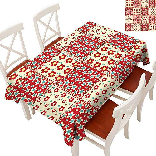 (Cabin Decor Fabric Dust-Proof Table Cover Traditional Quilt Pattern with Spring Garden Flowers Daisies Waterproof/Oil-Proof/Spill-Proof Tabletop Protector Light Yellow Turquoise Red 70