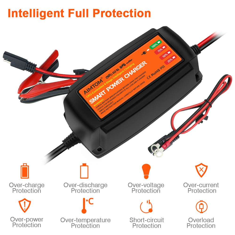 Wet Gel Fits AGM Sealed Lead Acid Batteries AIMTOM 5Amp Smart Battery Charger 4-Stage Extra-Safe 12V Intelligent Maintainer for Car RV SUV Truck Motorcycle Boat Lawn Mower Use VRLA