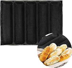 Silicone Fiberglass Bread Bun Mold Non Stick Reusable Sandwich Baking Form Perforated Mould 5 Loaf Bread Pan Baguette Mould