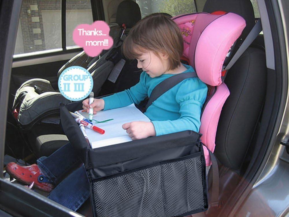 MuStone Bandeja de viaje para niños, bandejas de bocadillos para niños, bandeja de juego de viaje para niños Asientos de carro de bebé Juego Aprenda bandeja de viaje de cruce de trenes (Negro)