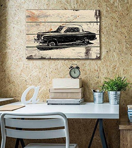 Classic Mercedes Woodcut Print Artwork Rustic