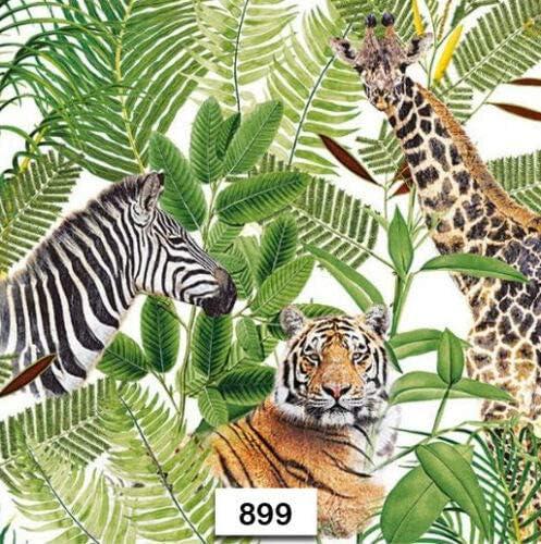 Two Individual Paper Luncheon Decoupage Napkins Zebra Giraffe Tiger Wild 899