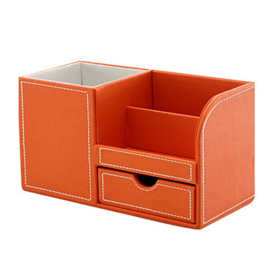 Multi-functional Pencil Holder, Zubita Office Desk Organizer PU Leather and Wood Business Cards Holder and Pen Container Desk Supplies Organizer for Pens Pencils Mobile Phone and Cards ( Orange )