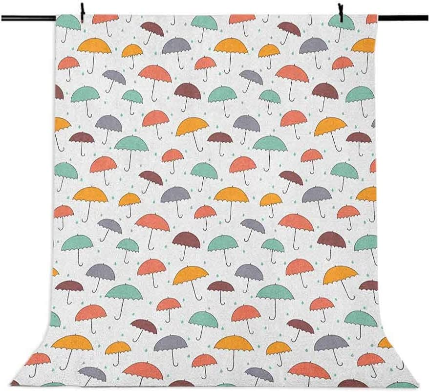8x12 FT Kids Vinyl Photography Backdrop,Rainy Weather Pattern with Hand Drawn Style Umbrellas in Autumn Fall Season Colors Background for Party Home Decor Outdoorsy Theme Shoot Props