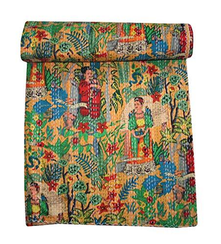 Thehandicraftworld、Frida Kahlo Queen プリント ヤシの木 カンタ キルト ベッドスプレッド スロー ブランケット 寝具 B07M5DNWY3