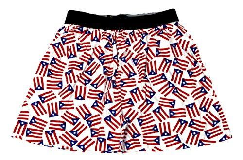 Fun Boxers - Mens Puerto Rican Flag Boxer Shorts, White 34427-Medium