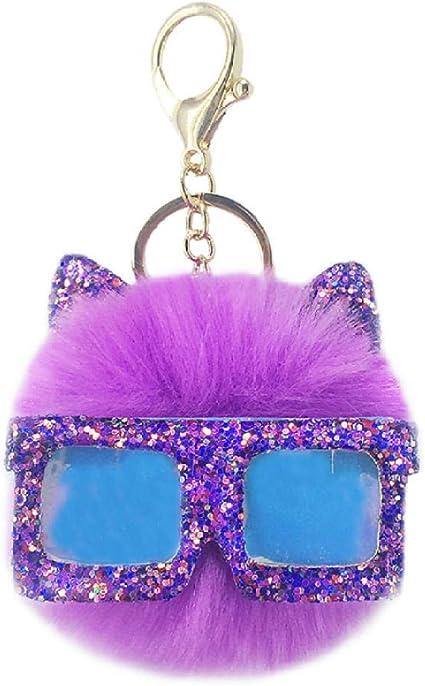 Purple Glitter Bat Keychain