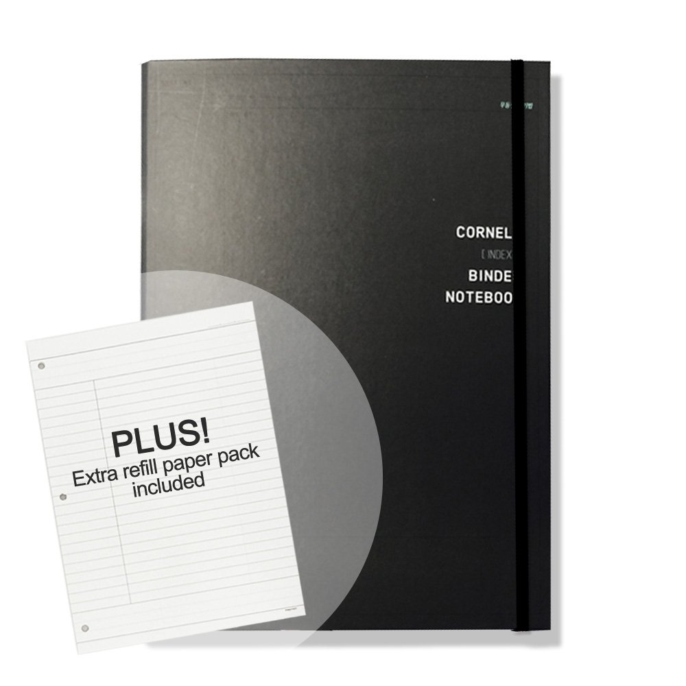 'CORNELL' Hard Cover 3 Ring Binder Notebook Pack with 60 Sheets College Ruled Filler Paper and 30 Sheets Binder Refill Papers Pack Included, 8.46 in. X 11.5 in (Black)