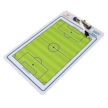 Pizarra táctica de doble cara para entrenador de fútbol con rotulador y ayudas