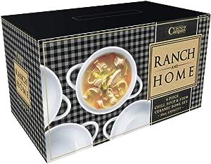 Dwell Six   Ranch & Home Soup Crocks with Handles   Ceramic, 20 oz.   Make, Soup, Stews, Chili   Set of 4 (White)