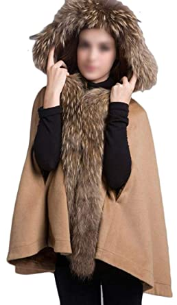 39b1c914b3d44 Lutratocro Women Cape Poncho Premium Woolen Thicken Faux Fur Hooded Trench  Overcoat Camel S