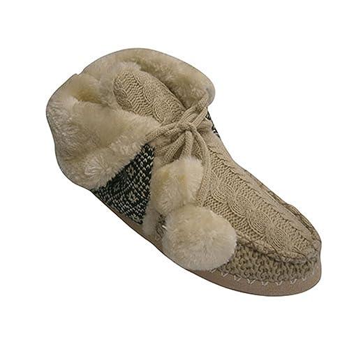 Zapatilla Mujer Bota con Vuelta con Cordones y Dos Pompones Gioseppo en beig Talla 41: Amazon.es: Zapatos y complementos