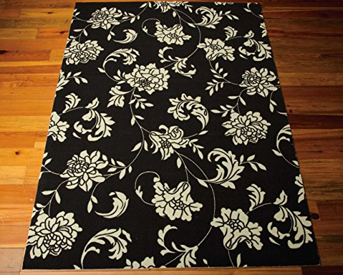 Nourison Home & Garden (RS014) Black Rectangle Area Rug, 5-Feet 3-Inches by 7-Feet 5-Inches (5'3