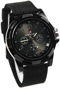 gemius army Mode Sport Stil Militaer- Armee Pilot Stoff Band Mann Armbanduhr Uhr schwarz: Amazon.de: Küche & Haushalt