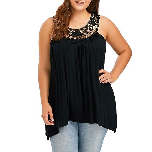 2e308df5315eb Plus Size Swing Lace Flowy Tank Top for Women Color Block Vest Patchwork Tank  Tops Black