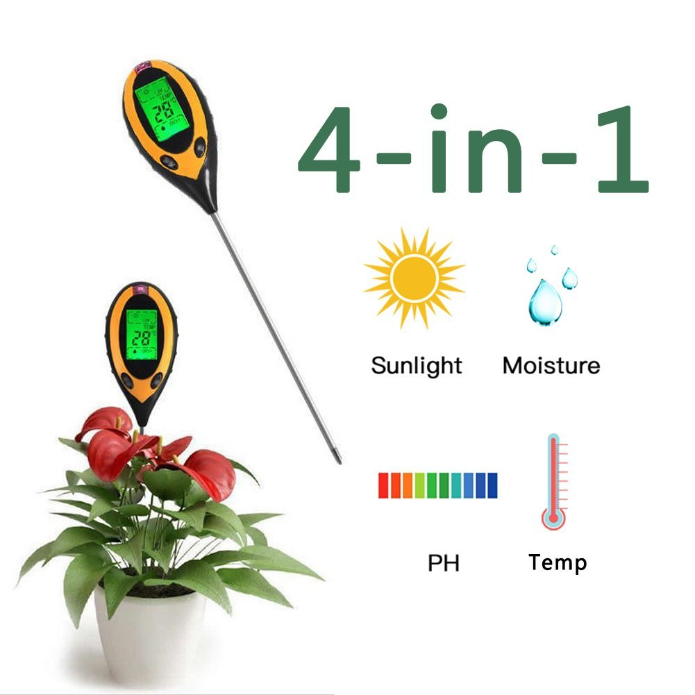 Environment Soil Tester 4-in-1 Digital Moisture Meter PH Levels Temperature Sunlight Tester for Garden, Farm, Lawn, Plants Outdoor Indoor