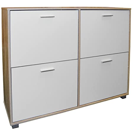 BIGFOOT - XL Large 24 Pair Shoe Storage Cabinet - Light Oak / White  sc 1 st  Amazon UK & BIGFOOT - XL Large 24 Pair Shoe Storage Cabinet - Light Oak / White ...