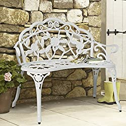 Best Choice Products Outdoor Patio Garden Bench Park Yard Furniture Cast Iron Antique Rose White