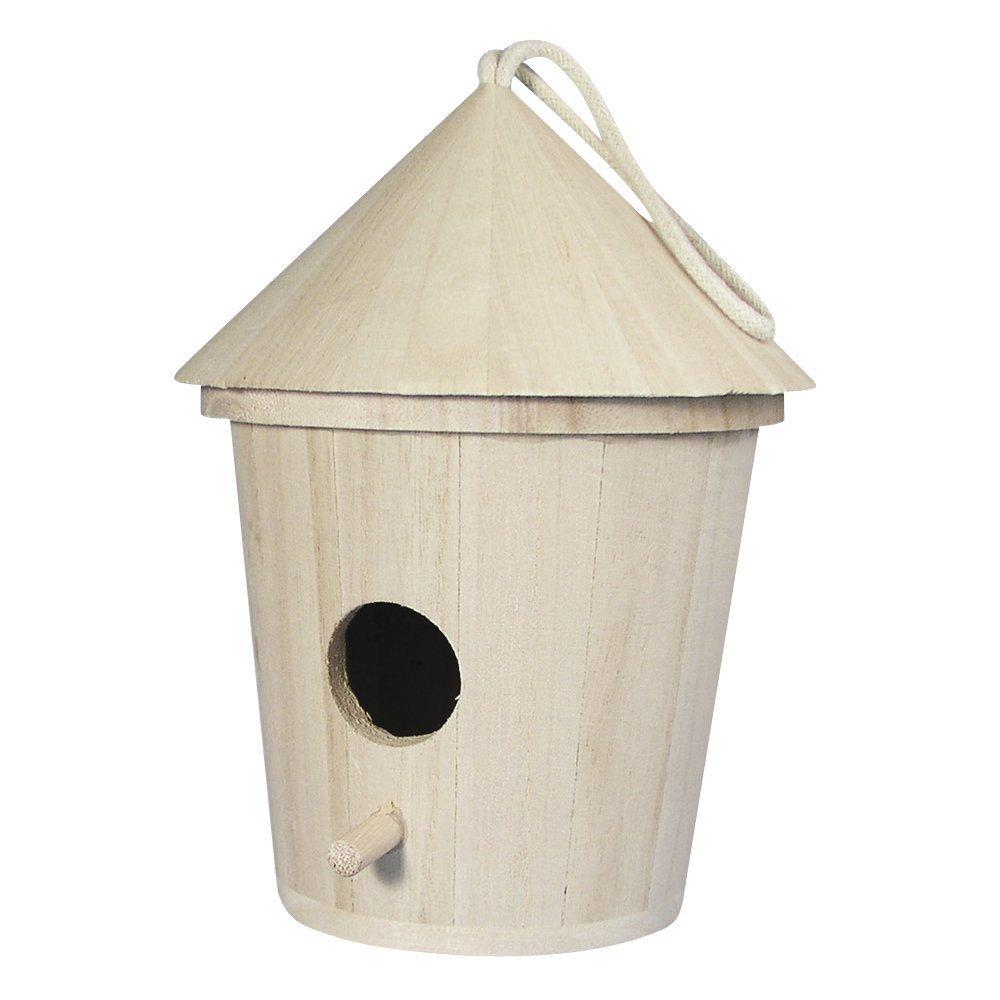 Rayher 62280000/casetta nido mangiatoia per uccelli in legno naturale cilindrica con tetto conico e foro dentrata FSC Mix Credit 16/cm