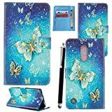 LG K8 2017 Case, PU Leather Case Cover Wallet Protective Magnetic Closure for LG K8 2017 With Card Slot and KickStand Feature - LG K8 2017 CASE COVER (Butterfly Golden Book)