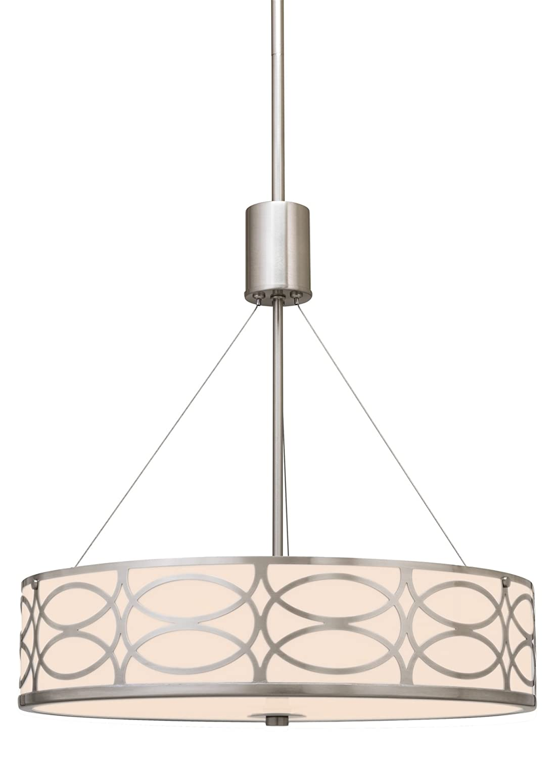 "Kira Home Sienna 18"" 3-Light Metal Drum Chandelier + Glass Diffuser, Brushed Nickel Finish"
