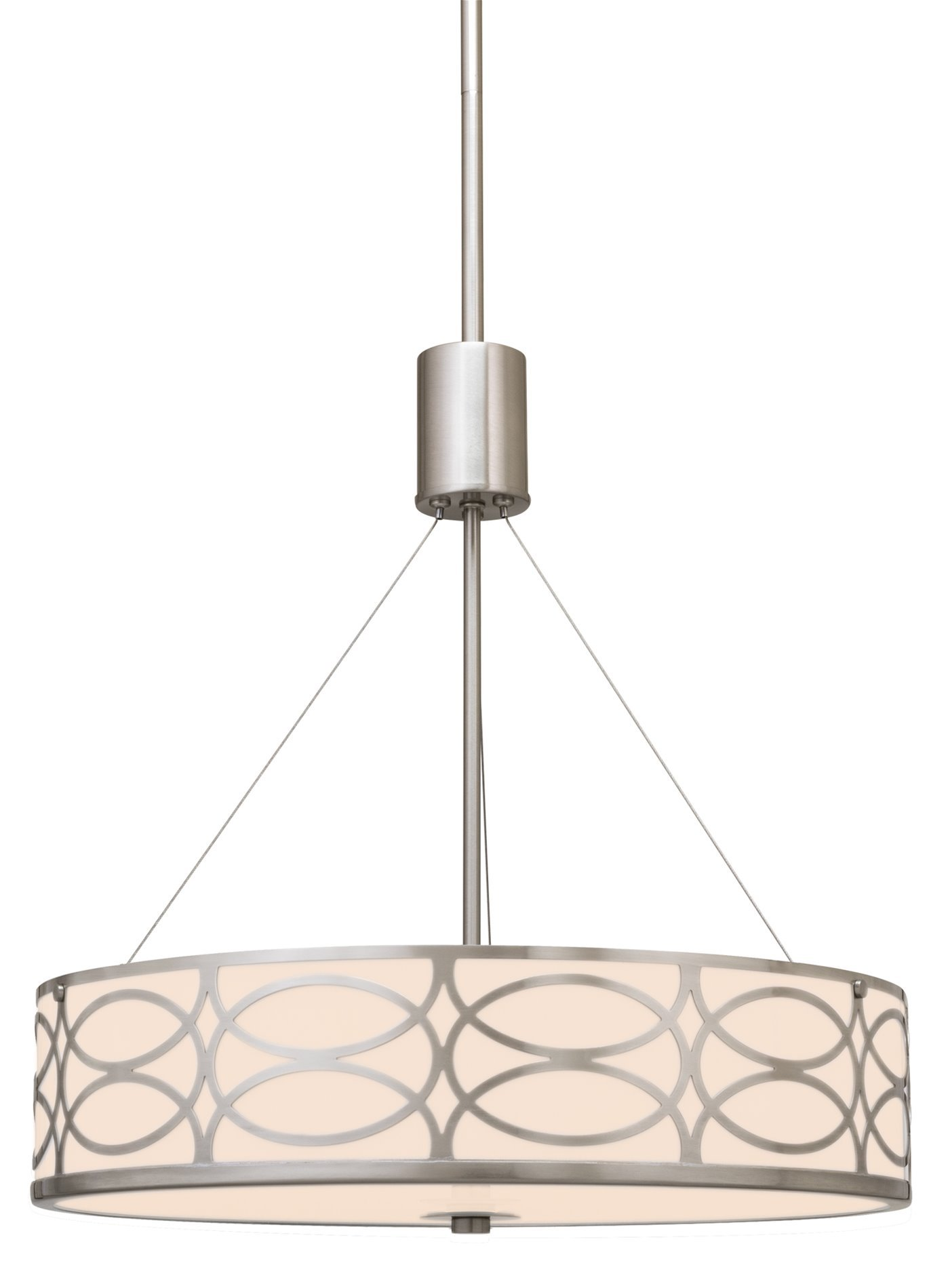 Kira Home Sienna 18'' 3-Light Metal Drum Chandelier + Glass Diffuser, Brushed Nickel Finish