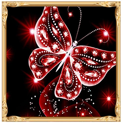 - Botrong DIY 5D Diamond Painting by Number Kits, Crystal Rhinestone Diamond Painting Kits for Adults Full Drill (10X10inch / 25X25CM, Butterfly) (Red)