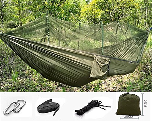 EIALA Camping Hammock, Mosquito Net Outdoor Hammock Travel Bed Lightweight Parachute Fabric Double Hammock For Indoor, Camping, Hiking, Backpacking, Backyard (Army Green)