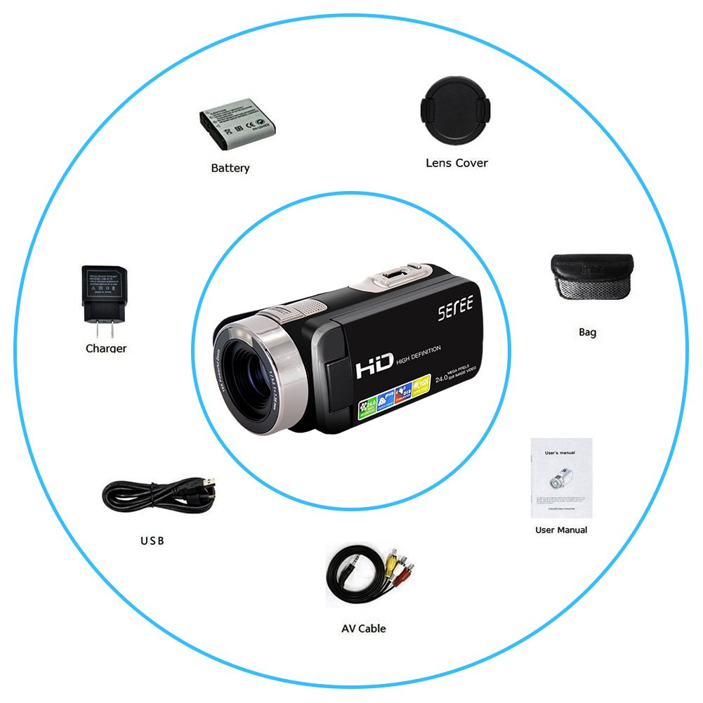 SEREE Camera Comcorder Full HD 1080p 16X Digital Zoom 2.7