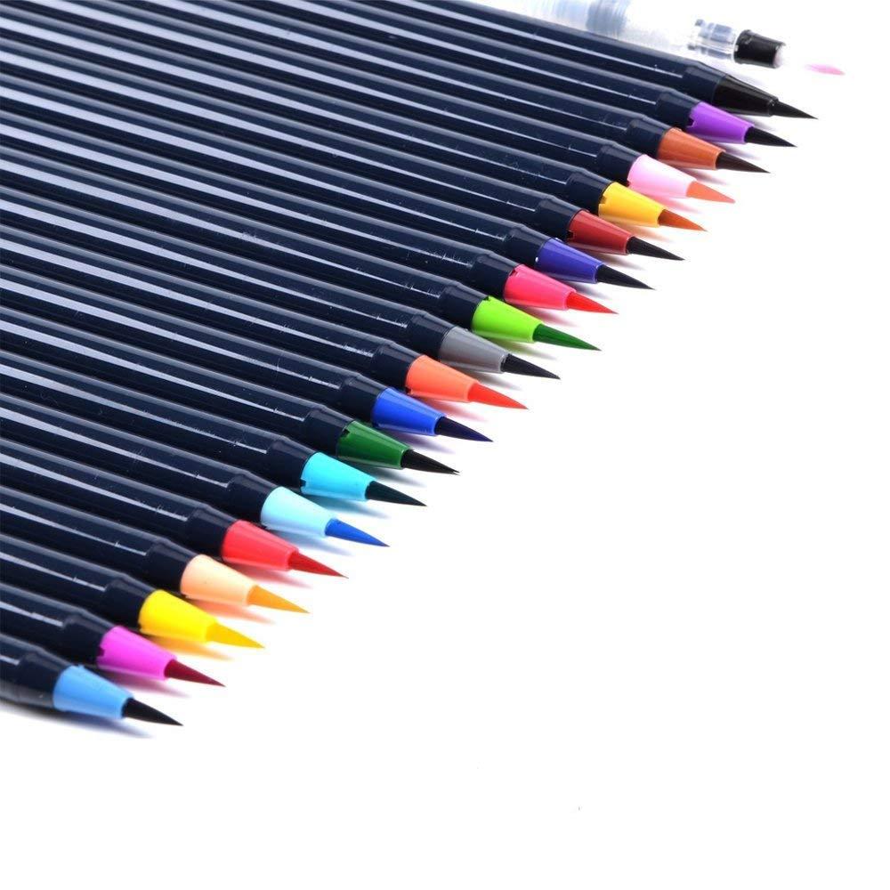 20/colori acquarelli set penne pennello morbido punta flessibile acqua inchiostro pennello pittura arte marcatori