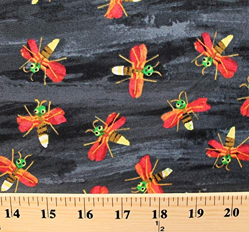 Cotton The Very Series Fireflies Flying Insects Black Cotton Fabric Print by The Yard (D786.08)]()