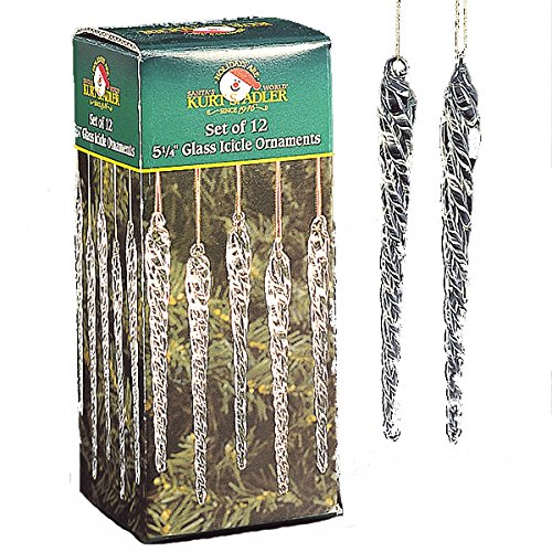 Kurt Adler 5-1/4-Inch Glass Icicle Ornament 12-Piece Box Set, Clear, 1 Pack