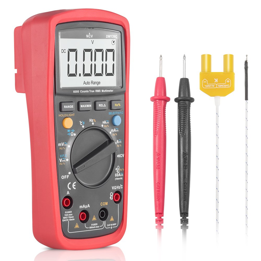 Digital Multimeter, SYNERKY DM139C TRMS 6000 Counts Ammeter/Voltmeter / Ohmmeter/LCD Screen Backlit/NCV / Temperature Measurement by SYNERKY