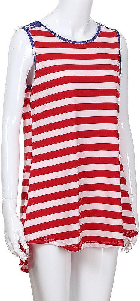 July 4th Womens Tank Women American Flag Shirt Striped Star T-Shirts USA Short Sleeve Stars Patriotic Tops