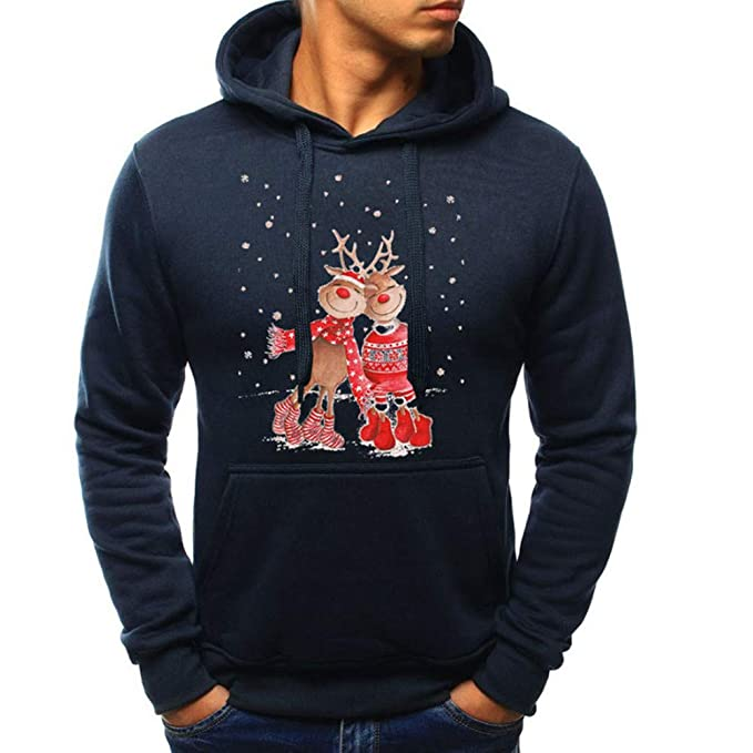 beautyjourney Sudadera con Capucha de Manga Larga para Hombre Otoño Invierno Navidad Casual Camisa Deportiva Sudaderas con Chándales Tops: Amazon.es: Ropa y ...