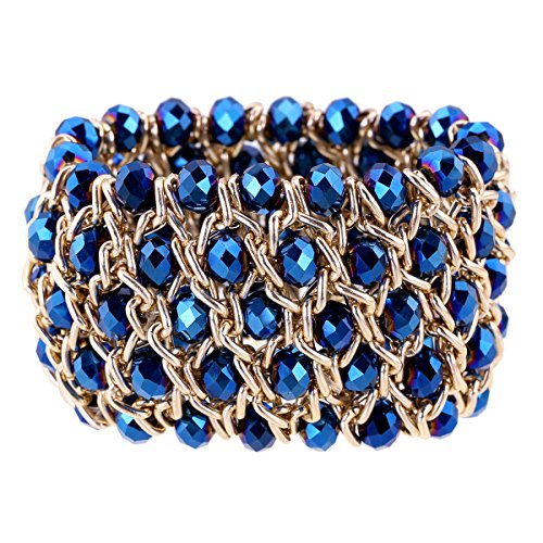 Kaymen Jewelry Luxury Gold Plated Cross Chians and Crystal Stone Knit Exaggerated Bangles Bracelets for Women 5 Colors (Blue)
