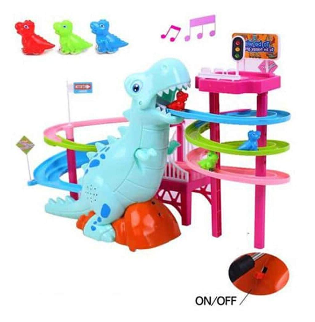 Age Kids Birthday Christmas Gift,USB or Battery Powered,9x7x15 LLguz Musical Dinosaur Toys with LED Lights Race Track,Adventure Puzzle Play Toy Educational Game for 3