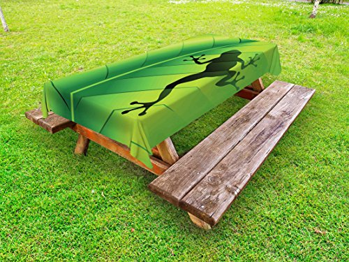 Lunarable Animal Outdoor Tablecloth, Silhouette of Frog on The Exotic Macro Tropical Leaf Plant Wild Life Nature Illustration, Decorative Washable Picnic Table Cloth, 58 X 120 inches, Green