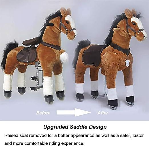 Montez et descendez et bougez Hauteur 44  pour Les Enfants de 6 Ans /à l/âge Adulte Grand Cheval m/écanique UFREE Action Pony Black Mane /& Tail