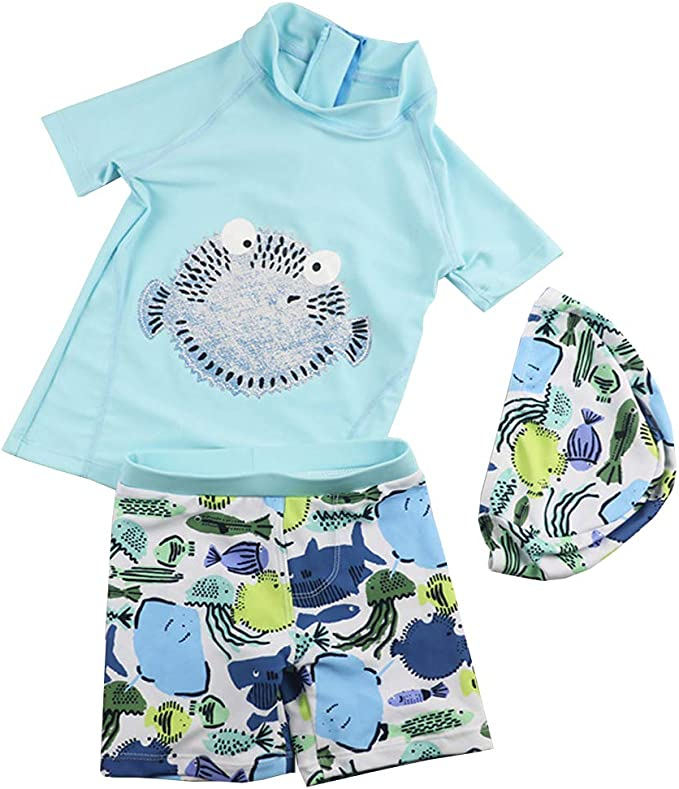 Amazon.com: Traje de baño de dos piezas para bebés, de manga ...