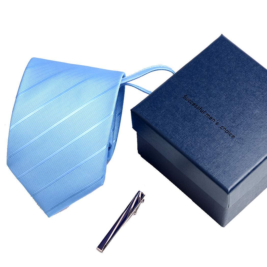 Color : Blue, Size : Tie 8483.5cm HUIFANG Lazy Tie Mens Business Dress Tie Mens Easy Tie Korean Work Student Wide Tie Gift Box Send European Tie Clip Light Blue 8cm 48 3.5cm A
