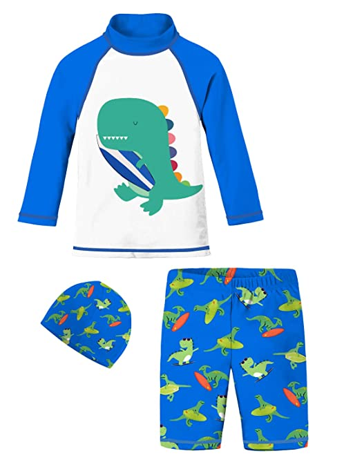 Toddler Boys Long Sleeve Swimsuits Jammers Royal Blue White Teal Dinosaur  with Surfboard Swimwear Bathing Suit 5fe53ca853