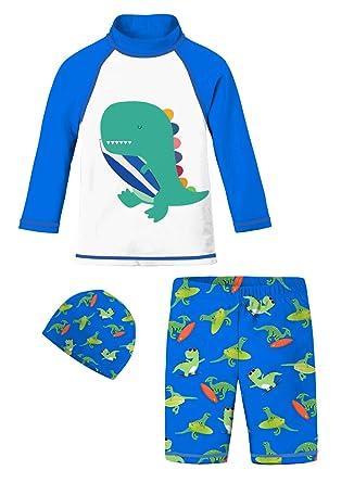 48c13cbb6 Baby Boys Long Sleeve Swimsuits Royal Blue White Teal Dinosaur Surfboard  Swimwear Bathing Suit Set Animal