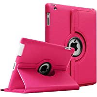 Aavjo 360 Degree stand PU Leather Screen protective Smart book back Case Cover for Apple iPad 2 , iPad 3 , iPad 4 A1460, A1459, A1458, A1416, A1430, A1403, A1397, A1396, A1395 (Hot Pink)